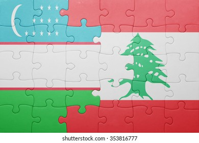 puzzle with the national flag of uzbekistan and lebanon . concept