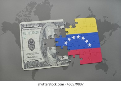 puzzle with the national flag of venezuela and dollar banknote on a world map background. 3D illustration