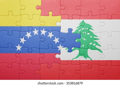 puzzle with the national flag of venezuela and lebanon . concept