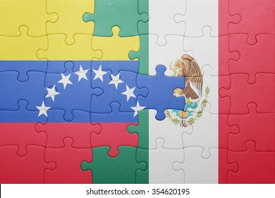 puzzle with the national flag of venezuela and mexico . concept