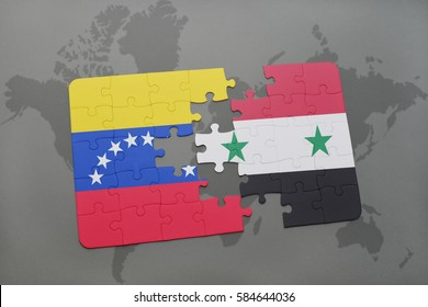 puzzle with the national flag of venezuela and syria on a world map background. 3D illustration