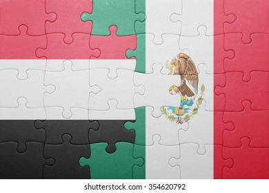 puzzle with the national flag of yemen and mexico . concept
