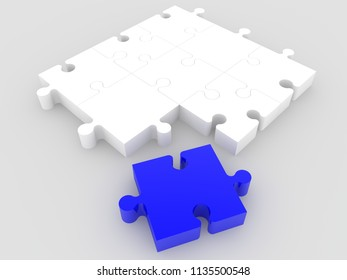 Puzzle on grey.3d illustration