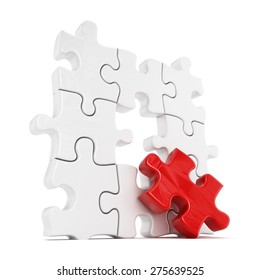 Puzzle with one red part missing isolated on white background