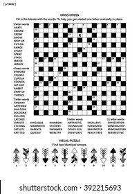 Puzzle Page With Two Puzzles Big 19x19 Criss Cross Word Game English Language
