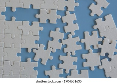 puzzle pieces with blue background