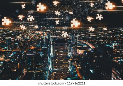 Puzzle Pieces with Downtown Los Angeles at night