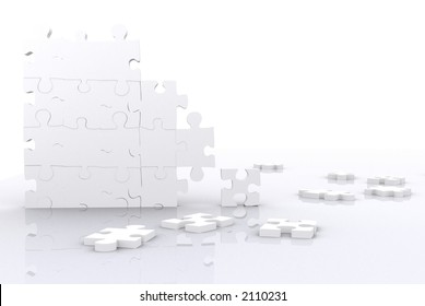 puzzle pieces made in 3d with high detail and high resolution over white