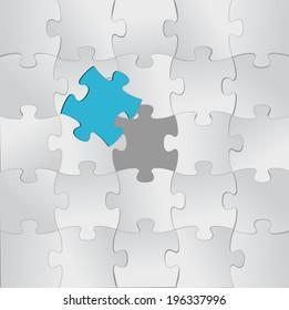 puzzle pieces and one unique in color. illustration design
