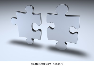 Puzzle pieces standing on end