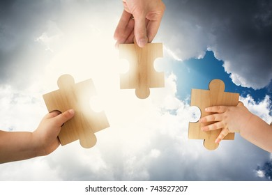 Puzzle Pieces Symbolizing Heavenly Enlightment of Teamwork