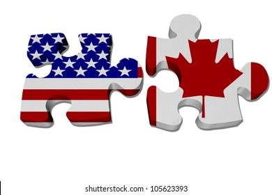 Puzzle pieces with the US flag and Canadian flag isolated over white, US working with Canada, NAFTA