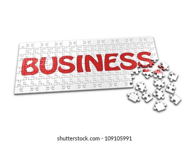 A Puzzle projecting the word Business with seperated pieces