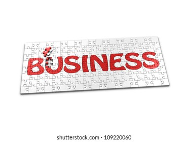A Puzzle projecting the word Business with a seperated piece