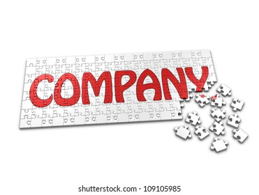 A Puzzle projecting the word Company with seperated pieces