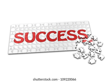 A Puzzle projecting the word success with seperated pieces