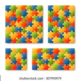 Puzzle Set - colored - 4 puzzles