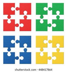 puzzle set colorful, main colors