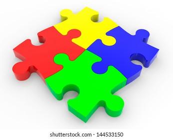 Puzzle solution concept. 3D illustration.