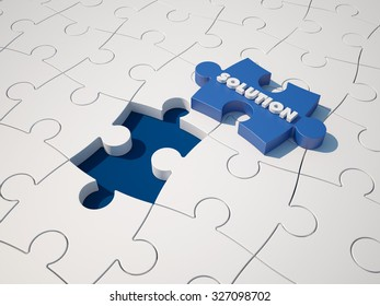 Puzzle - Solution Text on Blue Jigsaw Piece - High Quality 3D Render