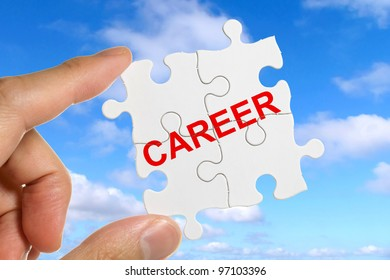 Puzzle and word Career, business concept