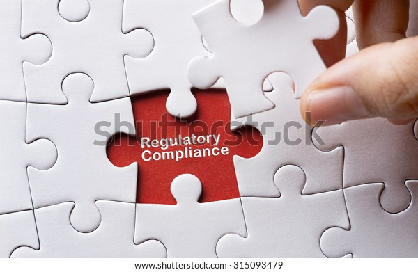 Puzzle with word regulatory and compliance