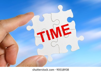 Puzzle and word time, business concept