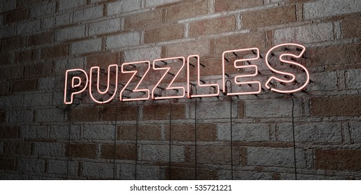 PUZZLES - Glowing Neon Sign on stonework wall - 3D rendered royalty free stock illustration.  Can be used for online banner ads and direct mailers.