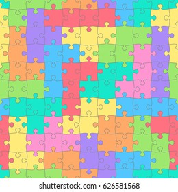 Puzzles seamless pattern with colored shapes. Children's background. Raster version