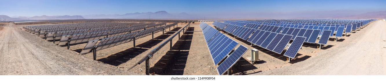 PV Modules Rows - Solar Energy, a clean technology to reduce CO2 emissions and the best place for Solar Energy is the Atacama Desert at north Chile where all the astronomical observatories are placed