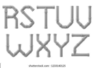 PVC-Alphabet aus PVC-Rohrleitungen - Buchstaben R bis Z