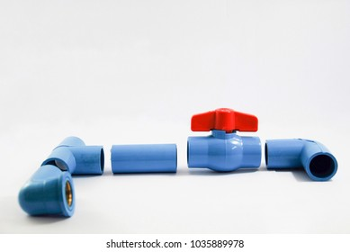 Pvc ball valve , white background.