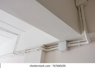 PVC electrical conduits and electrical junction box in the building