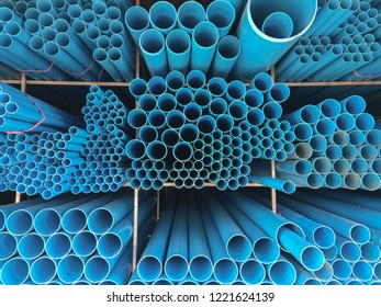 PVC pipe blue tube with industry. Texture and background. PVC to circle. Plastic is construction.