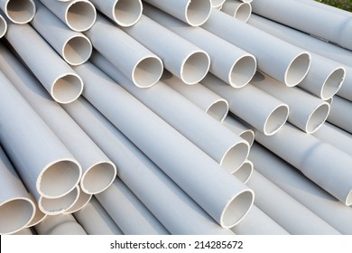 PVC pipes, Close-up.