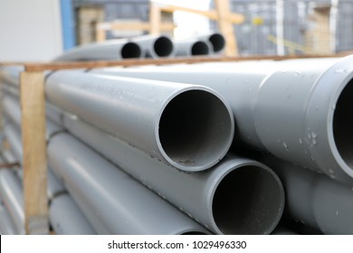 PVC pipes on the warehouse. Selective focus