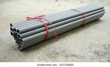 The PVC of polyvinyl pipe in tied up