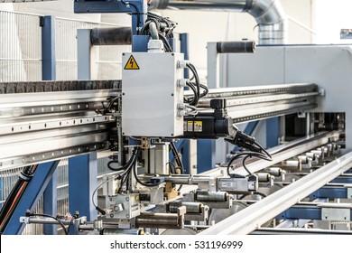 PVC windows automatic line machine cutting sections panels