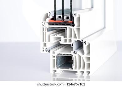 pvc windows cross section triple glazing