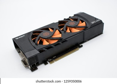 Pyatigorsk, Russia. 12/16/2011 NVIDIA Geforce GTX 465 graphics card isolated on a white background