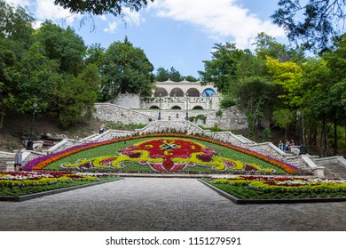 PYATIGORSK, RUSSIA - AUGUST 05, 2018: park Cvetnik, Diana's grotto, Lermontov's gallery, mineral waters, The name Pyatigorsk is derived from the fused Russian words five mountains