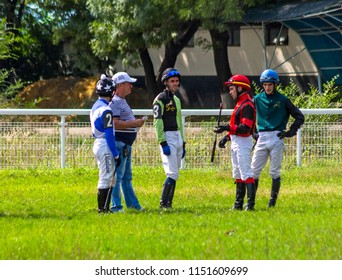 PYATIGORSK, RUSSIA - AUGUST 05, 2018:Unknown jockeys before the racing for the prize Restrictive in the hippodrome of Pyatigorsk,Caucasus,Russia.