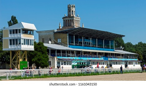 PYATIGORSK, RUSSIA - AUGUST 19, 2018:Pyatigorsk Hippodrome is one of the oldest and largest hippodromes in Russia. More than 500 horses are tested here every year.