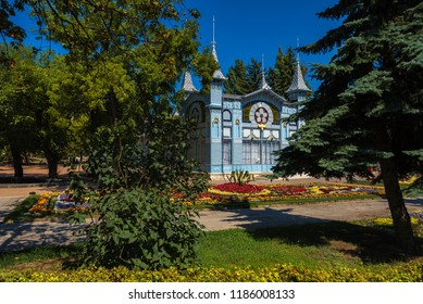 Pyatigorsk / Russia - August 21 2018: Historic building Lermontov Gallery in Tsvetnik Park of Pyatigorsk ,Caucasus,now Philharmonic in the Caucasian mineral waters, 1902