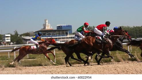 "PYATIGORSK, RUSSIA - AUGUST 29: The race for the prize of the "" Karachai Gel"";The jockey Tertichni,Guseinov and Saitgaleev.August 29; 2010 in Pyatigorsk; Caucasus; Russia."