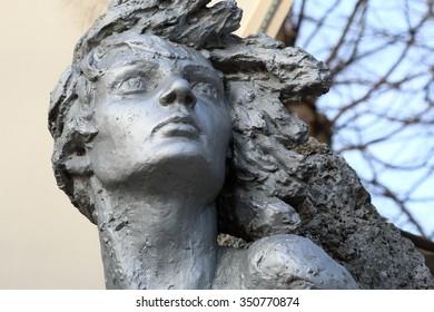 Pyatigorsk, Russia - December 12, 2015: Monument to Nina Poptsova (woman partisan in WWII)