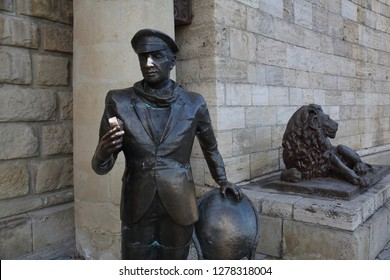 PYATIGORSK, RUSSIA - DECEMBER 23, 2018: Monument to the literary character Ostap Bender at the Lake Proval. Established in 2008