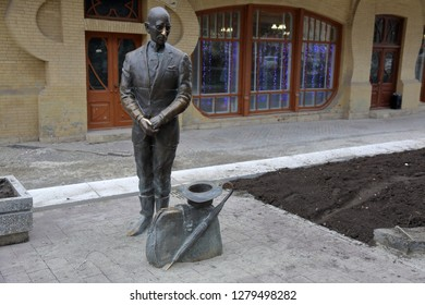 PYATIGORSK, RUSSIA - DECEMBER 23, 2018: Monument to the popular literary character Kisa Vorobyaninov in the city center