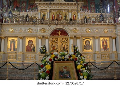 PYATIGORSK, RUSSIA - DECEMBER 25, 2018: Interior of the Spassky Cathedral. Founded in 1845