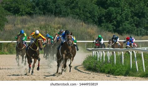 "PYATIGORSK, RUSSIA - JULY 07,2019: Horse race of the traditional big prize ""OKS"" on Pyatigorsk hippodrome,Northern Caucasus,Russia."